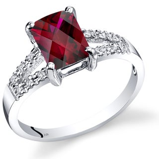 Oravo 14k White Gold 2ct TGW Radiant-cut Created Ruby with Diamond Accents Ring (Size 7)
