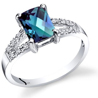 Oravo 14k White Gold 1 1/2ct TGW Radiant-cut Created Alexandrite with Diamond Accents Ring