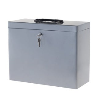 Locking File Storage Box with Handle- Portable Steel Lockbox for Important Document by Stalwart