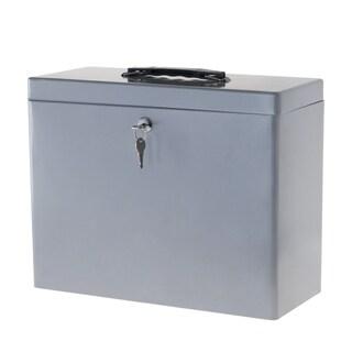 Stalwart Locking Steel Security Filing Box - Large - Gray