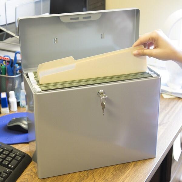 Stalwart Locking Steel Security Filing Box Large Gray