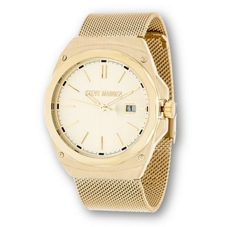 Steve Madden Gold Case and Stainless Steel Mesh Watch