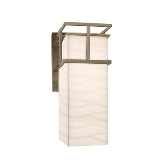 Justice Design Group Porcelina Structure Nickel Outdoor Large Wall Sconce, Waves Shade