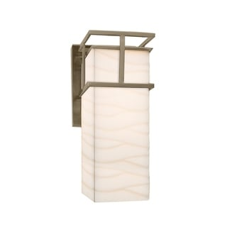 Justice Design Group Porcelina Structure LED Nickel Outdoor Large Wall Sconce, Waves Shade