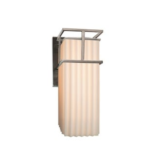 Justice Design Group Porcelina Structure LED Nickel Outdoor Large Wall Sconce, Pleats Shade