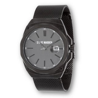 Steve Madden Men's Flat Mesh Casual Fashion Watch - Unique for Business - Black