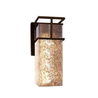 Justice Design Group Fusion Structure Bronze Outdoor Large Wall Sconce, Mercury Glass Shade