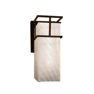 Justice Design Group Fusion Structure Bronze Outdoor Large Wall Sconce, Weave Shade