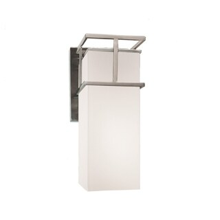 Justice Design Group Fusion Structure 1-light Brushed Nickel Outdoor Wall Sconce, Opal Shade