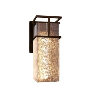 Justice Design Group Fusion Structure LED Bronze Outdoor Large Wall Sconce, Mercury Glass Shade