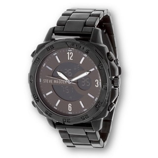 Steve Madden Black Case and Alloy Strap Watch