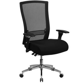 Intensive Use 300 lb. Rated High Back Black Mesh Multifunction Chair-Seat Slider