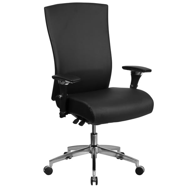 Intensive Use 300 lb. Rated High Back Black LeatherSoft Multifunction Chair
