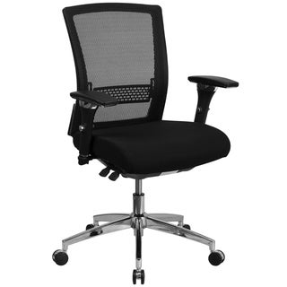 Intensive Use 300 lb. Rated Mid-Back Black Mesh Multifunction Chair-Seat Slider