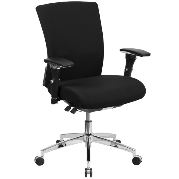 Intensive Use 300 lb. Rated Black Fabric Multifunction Chair with Seat Slider