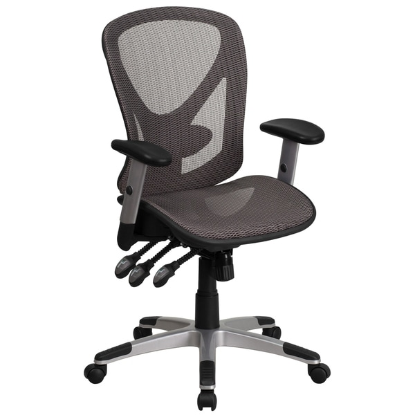 Mid-Back Transparent Gray Mesh Multifunction Office Chair with Adjustable Arms