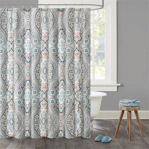 Echo Design Sterling Cotton Sateen Printed Shower Curtain - Multi-color