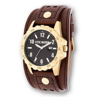 Steve Madden Gold Case and Brown Genuine Leather Strap Watch
