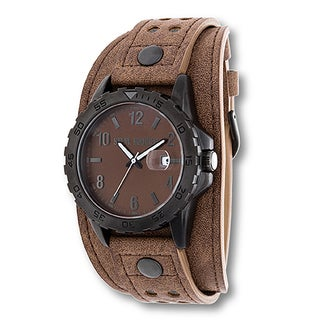 Steve Madden Black Case and Brown Leather Strap Watch