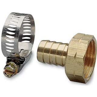 Nelson 50451 5/8-inch Female Brass Hose Repair With Worm Gear Clamp