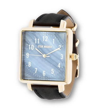 2a0778e6a Shop Steve Madden Gold Square Case and Black Leather Strap Watch ...