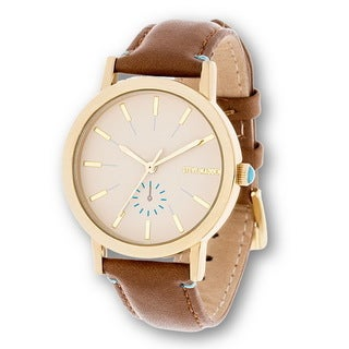 Steve Madden Gold Case and Brown Leather Strap Watch