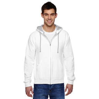 Men's Big and Tall Sofspun Full-Zip White Hooded Sweatshirt