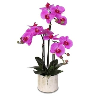 Real Touch Phalaenopsis Pink Silk Orchid Arrangement in a Stone Pot