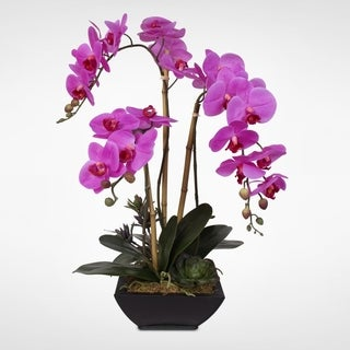 Real Touch Phalaenopsis Silk Orchid Arragnement in a Metal Pot