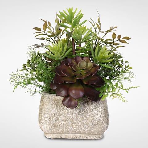 Artificial Succulent Arrangement in a Stone Pot