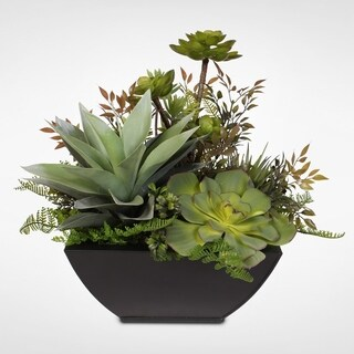 Artificial Succulent Arrangement in a Metal Container