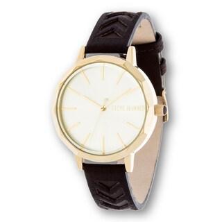 Steve Madden Gold Case Black Leather Strap Watch