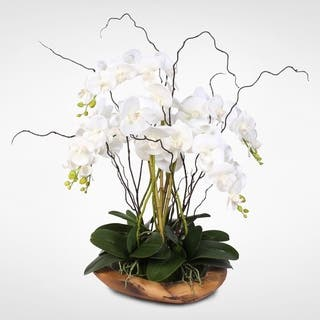 White Real Touch Phalaenopsis Silk Orchid Arrangement in a Natural Teak Bowl|https://ak1.ostkcdn.com/images/products/12401105/P19221342.jpg?impolicy=medium