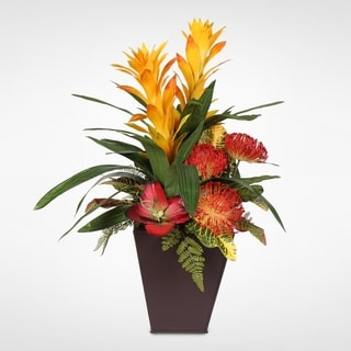 Guzmania Plant with Exotic Flower Variety Arrangement in a Metal Container