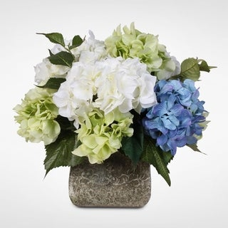 Blue Green and White Silk Hydrangea French Bouquet in a Stone Pot