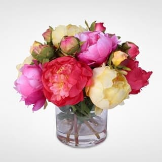 Winter artificial plants for less overstock silk french peonies bouquet in glass vase with fake water mightylinksfo Image collections