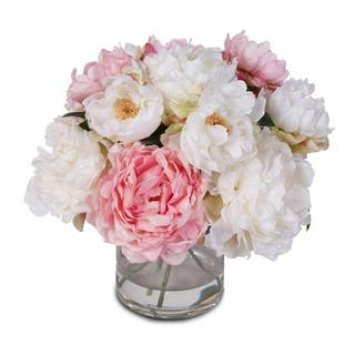 Silk French Peonies Bouquet in Glass Vase with Fake Water|https://ak1.ostkcdn.com/images/products/12401121/P19221463.jpg?impolicy=medium