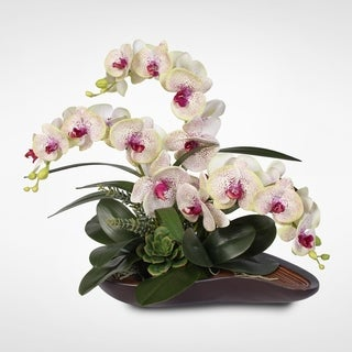 Real Touch Triple-Stem Silk Orchid Arrangement in a Curved Wooden Style Bowl