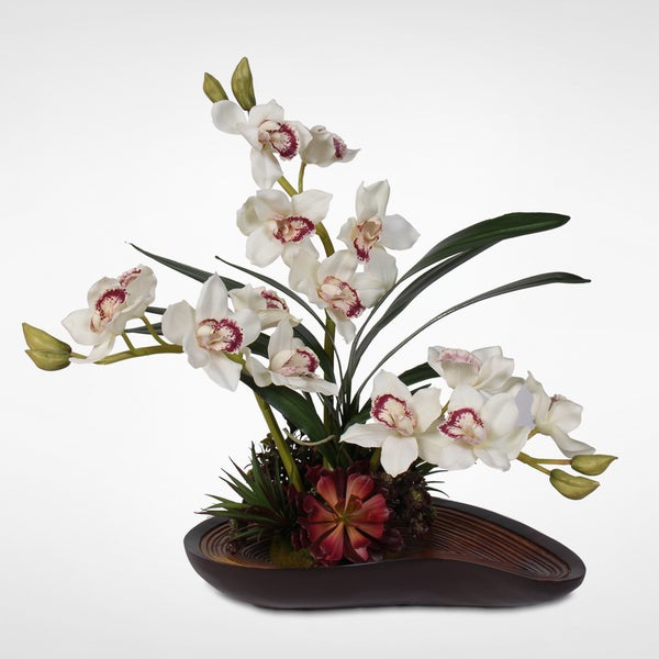 Real Touch White Cymbidium Orchid Arrangement in a Curved Wooden Style Bowl