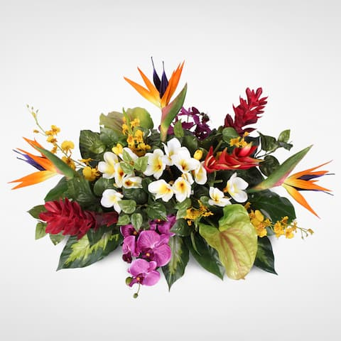 Orchids with Birds of Paradise, Hawaiin Ginger, Heliconia, Anthurium and Plumeria Tropical Arrangement on a Metal Tray