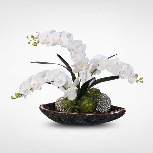 Real Touch White Phalaenopsis Silk Orchids with Succulents and Silver Balls in Beadwork Bowl