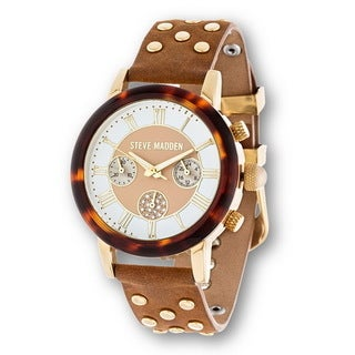 Steve Madden Gold Case Brown Stud Leather Strap Watch