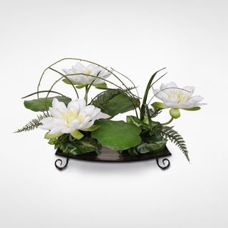 Silk White Water Lily with Water Drops on Leaves Arrangement on a Metal Tray