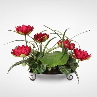 Silk Burgundy Water Lily with Water Drops on Leaves Arrangement on a Metal Tray
