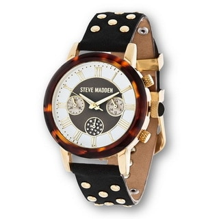 Steve Madden Gold Case Black Stud Leather Strap Watch