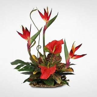 Silk Bird of Paradise and Anthurium Tropical Arrangement on Gold Leaf Plate