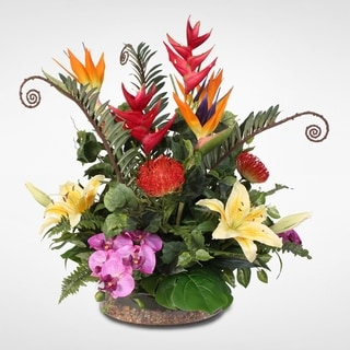 Tropical and Exotic Silk Flower Arrangement with Natural Rocks in Glass Bowl