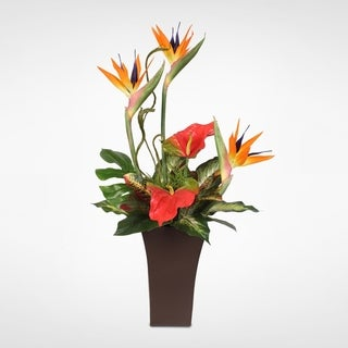 Silk Bird of Paradise and Anthurium Tropical Arrangement in a Tall Modern metal Container