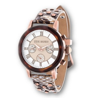 Steve Madden Rose Case Brown Stud Leather Strap Watch