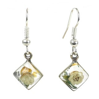 Handmade Alpaca Silver and Nahua Flower Rhombus Earrings - Artisana Jewelry (Mexico)
